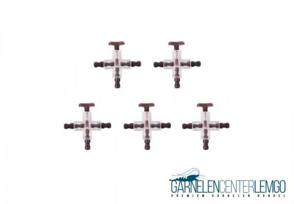 5er Pack Luftverteiler Kreuzstück mit Absperrhahn 4/6mm