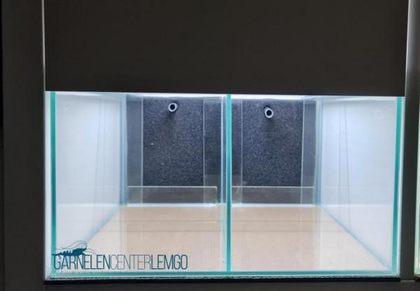 """Aquarium """"Kallax"""" geteilt, 33x38x20 mit HMF und Abdeckscheibe - 1 Wasser Kreislauf"""